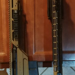 The AR build looks puppy-cute next to the new .300WM. (Yes, I 2-Tone Cerakoted the AR myself)